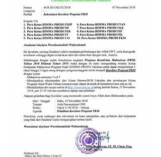 Rekrutmen dan Pelatihan Korektor Proposal PKM